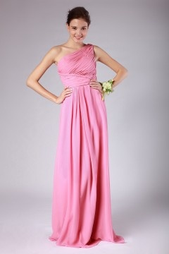 Minehead Chiffon One Shoulder Ruched A line Fuchsia Bridesmaid Dress