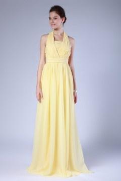 Robe jaune demoiselles d'honneur col montant mousseline