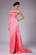 Rushing Sweetheart Split Satin Long A line Formal Bridesmaid Dress