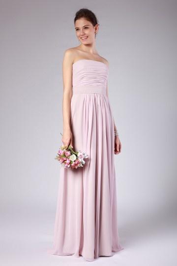 Empire Sash Strapless Chiffon Peach Long Bridesmaid Dress