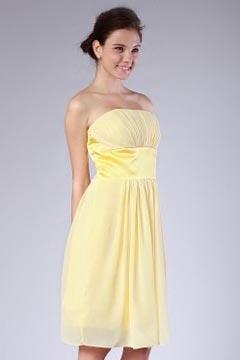 Robe jaune bustier ruban demoiselles d'honneur plissée en mousseline