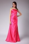 Split Pleated V neck Satin Floor Length A line Formal Bridesmaid Dress