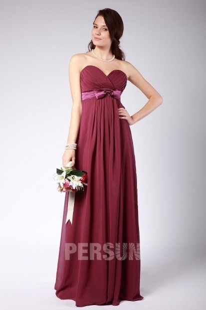Ruched Sweetheart Chiffon Floor Length Red Bridesmaid Dress