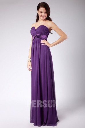 Chiffon Ruched Sweetheart Floor Length Bridesmaid Dress