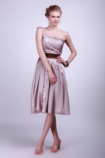 Dressesmall Pleated One Shoulder Satin Knee Length Formal Bridesmaid Dress