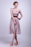 Pleated One Shoulder Satin Knee Length Bridesmaid Dress