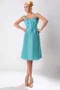 Pleated Straps Taffeta Knee Length A line Formal Bridesmaid Dress