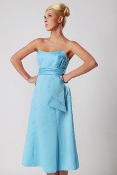 Robe bleue courte bustier empire demoiselles d'honneur