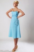 Strapless Tea Length Blue Formal Bridesmaid Dress in Satin
