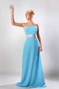 Sash Strapless Chiffon Floor Length Blue Bridesmaid Dress