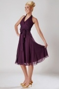 Ruched Halter V Neck Chiffon Knee Length Bridesmaid Dress