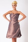 Ruched Strapless Taffeta Knee Length Formal Bridesmaid Dress