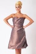 Ruched Strapless Taffeta Knee Length Formal Bridesmaid Dress