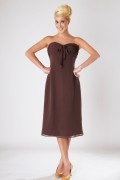 Ruched Sweetheart Chiffon Tea Length A line Formal Bridesmaid Dress