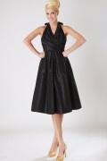 Pleated V neck Taffeta Knee Length Formal Bridesmaid Dress