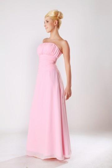 Trägerlos rosafarbig A-Linie Ärmellos Bodenlang Abendkleid aus Chiffon Persunshop