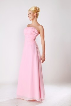 New Mills Chiffon Ruched Empire Pink Floor Length Bridesmaid Dress