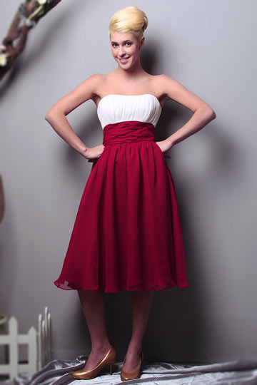 Dressesmall Ruched Strapless Chiffon Knee Length Red Formal Bridesmaid Dress