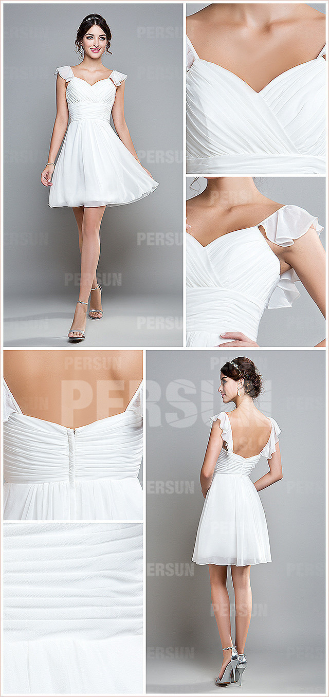 white chiffon cap sleeves knee length ruching bridesmaid dress