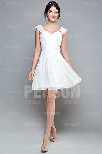 Dressesmall Chiffon Cap Sleeve Ruching Knee Length White Formal Bridesmaid Dress