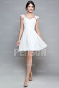 Chiffon Cap Sleeve Ruching Knee Length White Bridesmaid Dress