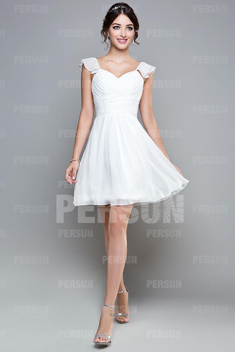 ... weiß Schlichtes weißes Knielanges A-Linie Abendkleider aus Chiffon