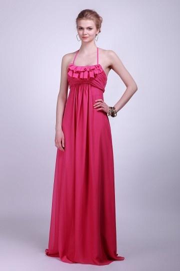 Sexy Halter Ruching Empire Floor Length Red Bridesmaid Dress