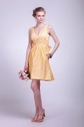 Straps Yellow Ruching Knee Length Taffeta Formal Bridesmaid Dress