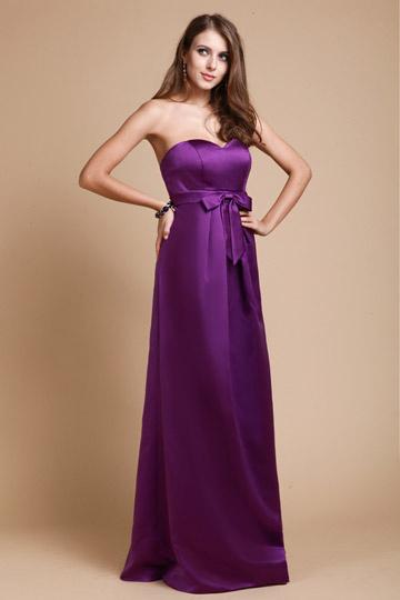 Satin Sweetheart Bow Sash A line Purple Bridesmaid Dress