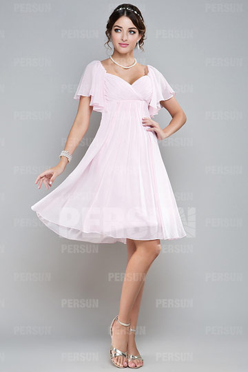 Knee Length Ruching Pink Chiffon Bridesmaid Dress with  Cap Sleeve