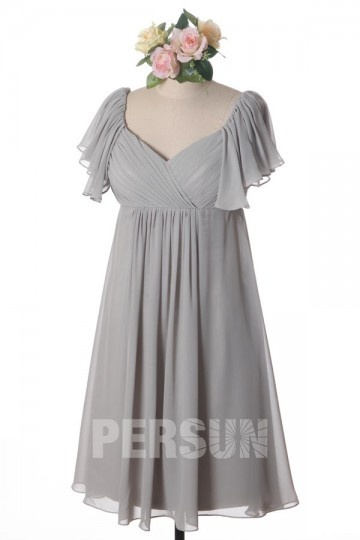 Pink Cap Sleeve Ruching Knee Length Chiffon Formal Bridesmaid Dress Wpbh1479