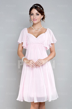 Robe demoiselle d'honneur empire courte genou en mousseline rose à mancheron volants