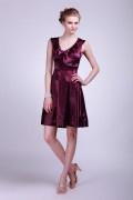 Robe demoiselle d'honneur en satin violet au ras des genoux