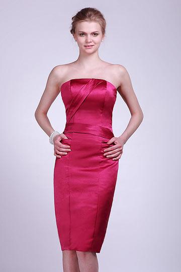 Dressesmall Straps Pleated A line Knee Length Satin Formal Bridesmaid Dress