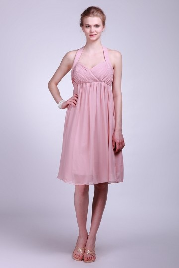 Robe courte plissée rose à col américain empire en mousseline
