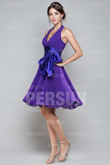 Dressesmall Halter Purple Ruffle Sash Pleats Chiffon Bridesmaid Dress