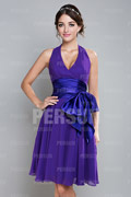 Halter Purple Ruffle Sash Pleats Chiffon Formal Bridesmaid Dress