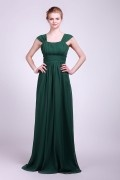 Scoop Pleats Cap Sleeve Long Chiffon Formal Bridesmaid Dress