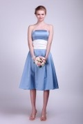 Satin Strapless Pleats Blue Tea Length Bridesmaid Dress