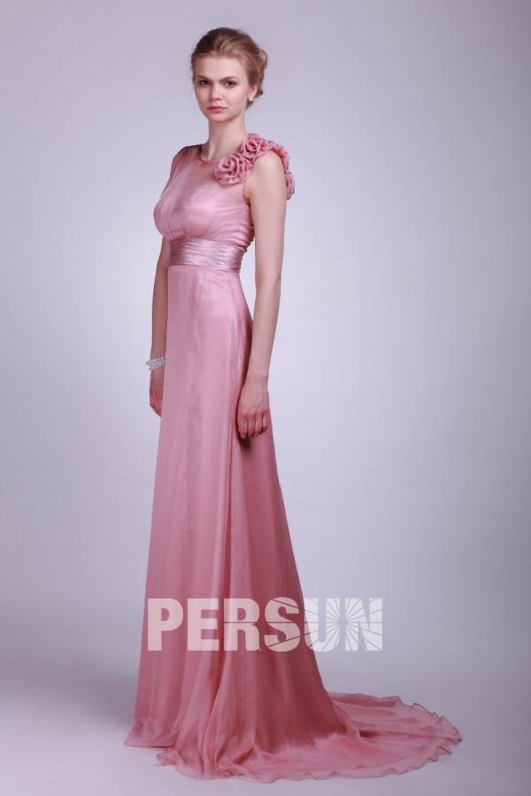 chiffon applique belt empire pink bridesmaid dress