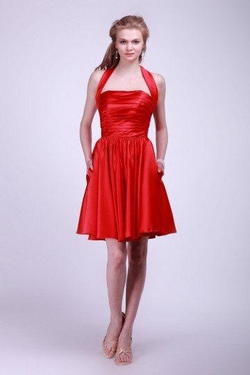 Satin Halter Ruching Pleats Red Knee Length Bridesmaid Dress