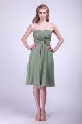 Ruching Chiffon Sweetheart Knee Length Formal Bridesmaid Dress