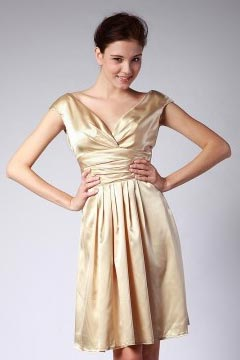 Cap Sleeves Pleats Knee Length Champagne Bridesmaid Dress