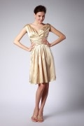 Ruching Pleated Off Shoulder Knee Length Gold Formal Bridesmaid Dress