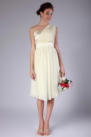 Dressesmall Chiffon One Shoulder Knee Length Formal Bridesmaid Dress