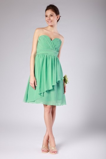 Dressesmall Ruching Ruffle Chiffon Sweetheart Green Short Bridesmaid Dress