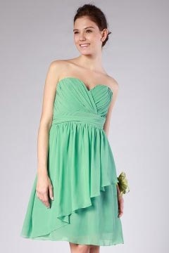 Chiffon Ruching Ruffle Sweetheart Green Short Bridesmaid Dress