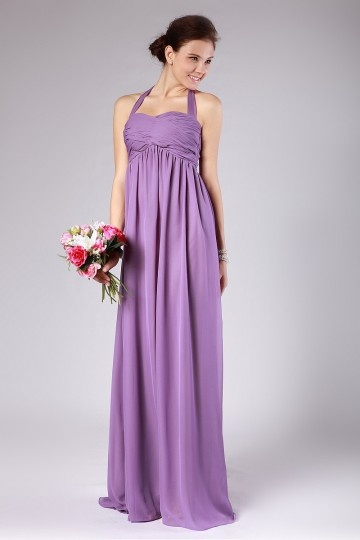 Chiffon Halter Pleated Purple Floor Length Bridesmaid Dress