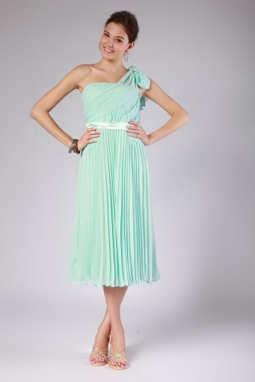 Dressesmall Pleats Sash Chiffon One Shoulder Empire Mint Formal Bridesmaid Dress