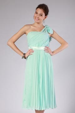 Chic One Shoulder Pleats Chiffon Mint Bridesmaid Gown